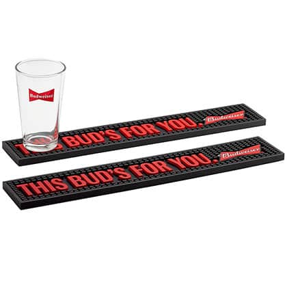 Budweiser This Bud's For You Bar Mat Pair